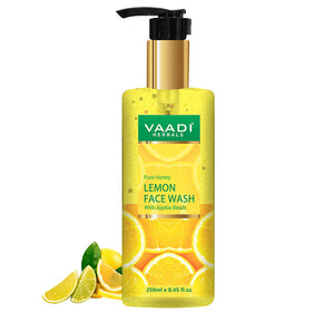 Skin Hydrating Organic Lemon Face Wash with Jojoba Beads - Removes Excess Oil - Prevents Acne (250 ml/8.45 fl oz)