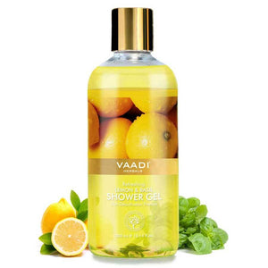 Refreshing Organic Lemon & Basil Shower Gel - Skin Detoxifying - Brightens Skin (300 ml / 10.2 fl oz)