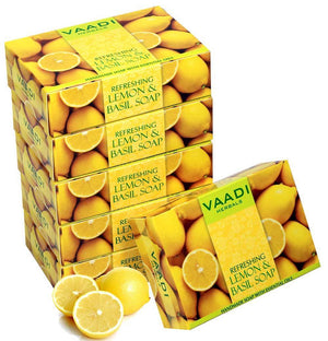 Refreshing Organic Lemon & Basil Soap - Tones & Brightens Skin - Detoxifies Skin Deep (6 x 75 gms / 2.7 oz)