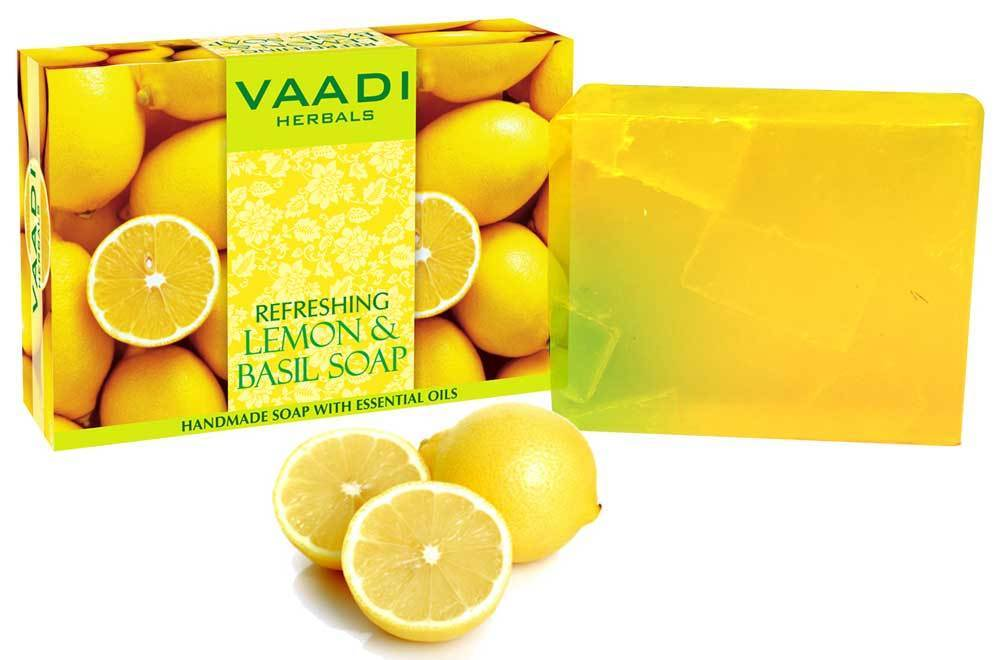 Refreshing Organic Lemon & Basil Soap - Tones & Brightens Skin - Detoxifies Skin Deep (75 gms / 2.7 oz)