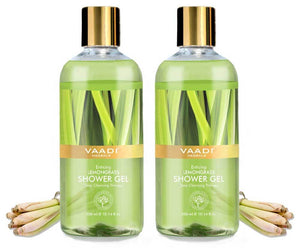 Enticing Organic Lemongrass Shower Gel - Deep Nourishing - Anti Bacterial - Makes Skin Healthy (2 x 300 ml / 10.2 fl oz)