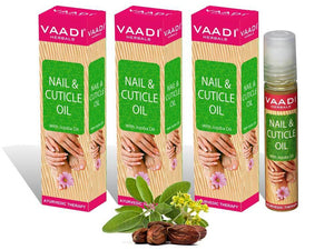 Organic Nail & Cuticle Oil with Jojoba Oil - Heals Redness & Pain - Strengthens Thin & Brittle Nails (3 x 10 ml/ 0.4 fl oz)