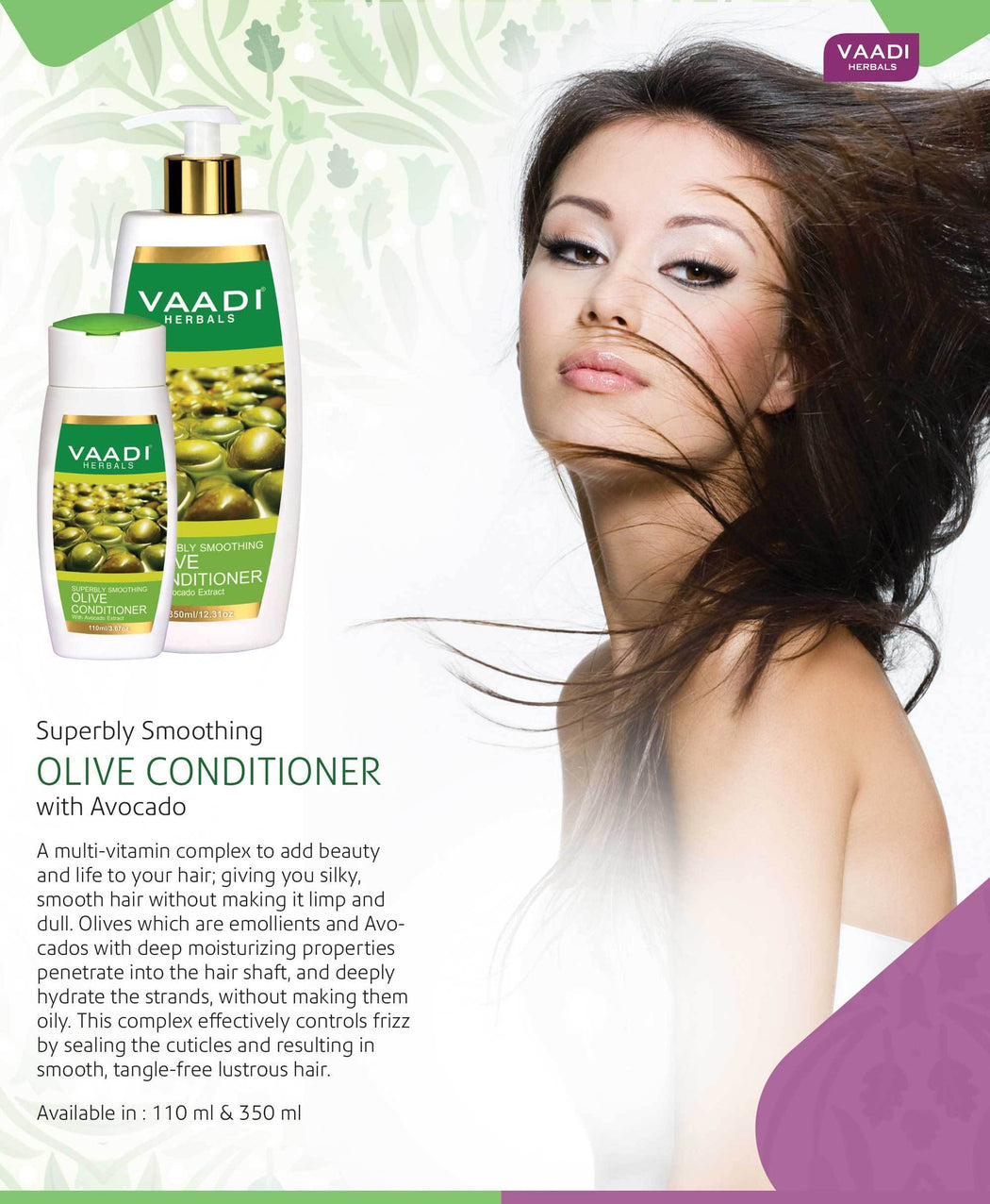 Multi Vitamin Organic Rich Olive Conditioner with Avocado Extract - Makes Hair Lustrous - Adds Bounce to Hair (3 x 110 ml/ 4 fl oz)