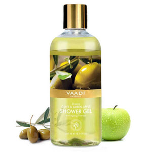 Breezy Organic Olive & Green Apple Shower Gel - Skin Revitalizing Therapy - Moisturises Skin (300 ml / 10.2 fl oz)