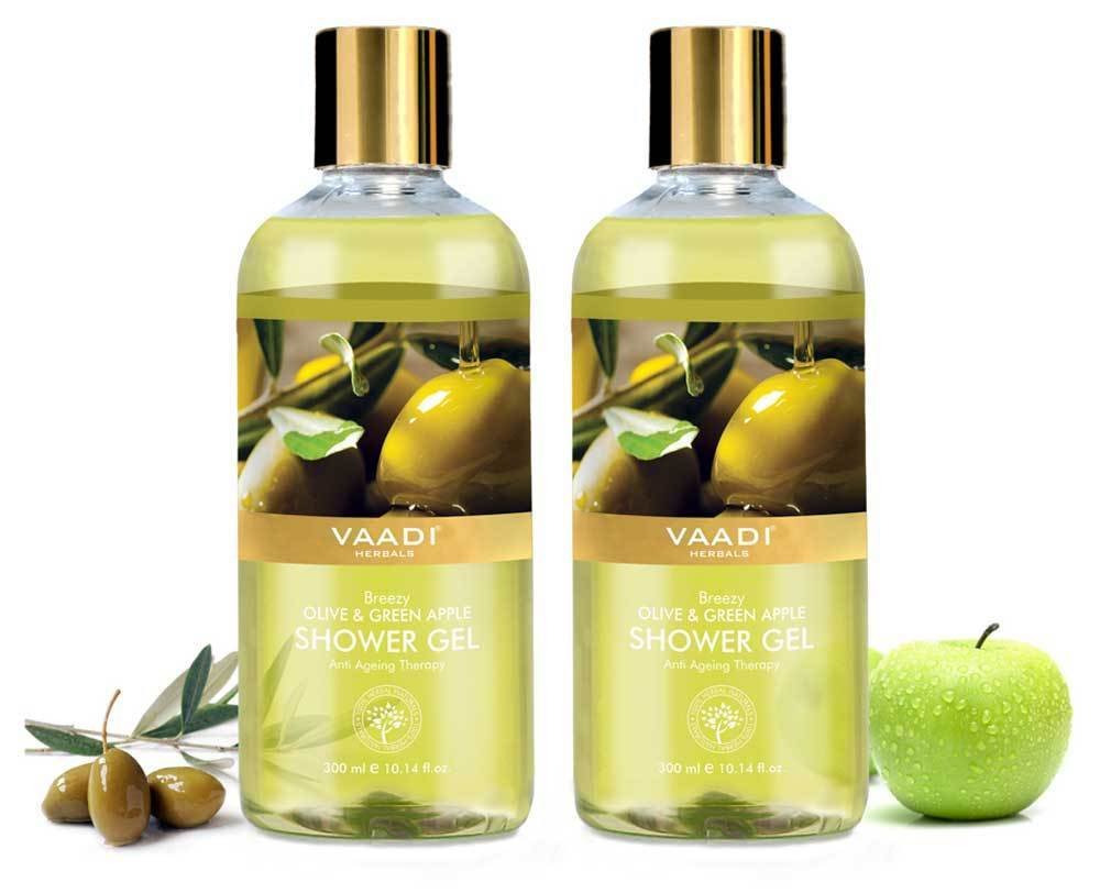 Breezy Organic Olive & Green Apple Shower Gel - Skin Revitalizing Therapy - Moisturises Skin (2 x 300 ml / 10.2 fl oz)
