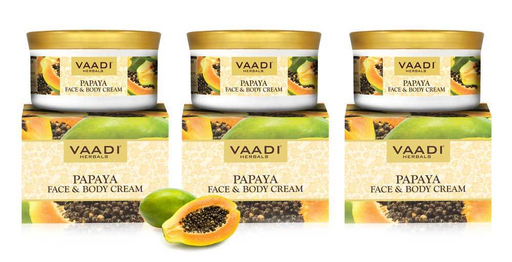 Organic Papaya Face & Body Cream - Maintains Skin Elasticity - Keeps Skin Youthful (3 x 150 gms/ 5.3 oz)