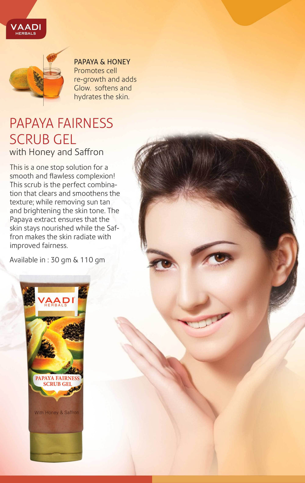Organic Papaya Fairness Scrub Gel with Honey & Saffron - Lightens Tan - Smoothens Skin Texture - Makes Skin Flawless (110 gms / 4 oz)
