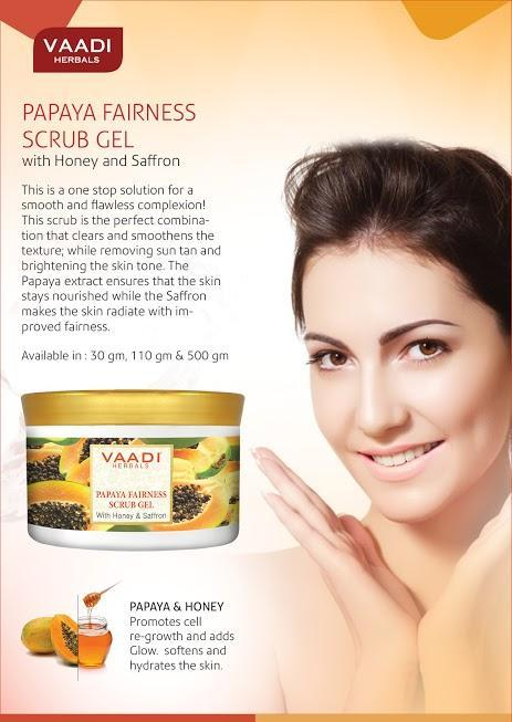 Organic Papaya Fairness Scrub Gel with Honey & Saffron - Lightens Tan - Smoothens Skin Texture - Makes Skin Flawless (500 gms / 17.7 oz)