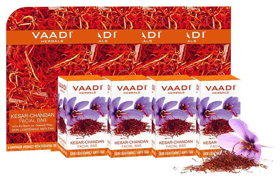 Organic Saffron Sandal Facial Bar with Orange Peel Extract - Lightens Marks- Makes Skin Flawless (4 x 25 gms/0.9 oz)