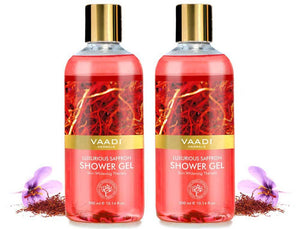 Luxurious Organic Saffron Shower Gel - Skin Lightening Therapy - Reduces Pigmentation Marks (2 x 300 ml / 10.2 fl oz)