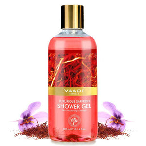 Luxurious Organic Saffron Shower Gel - Skin Lightening Therapy - Reduces Pigmentation Marks (300 ml / 10.2 fl oz)