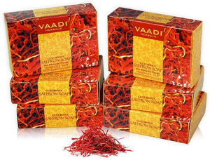 Luxurious Organic Saffron Soap - Skin Whitening Therapy - Evens Skin Tone - Lightens Marks ( 6 x 75 gms / 2.7 oz)
