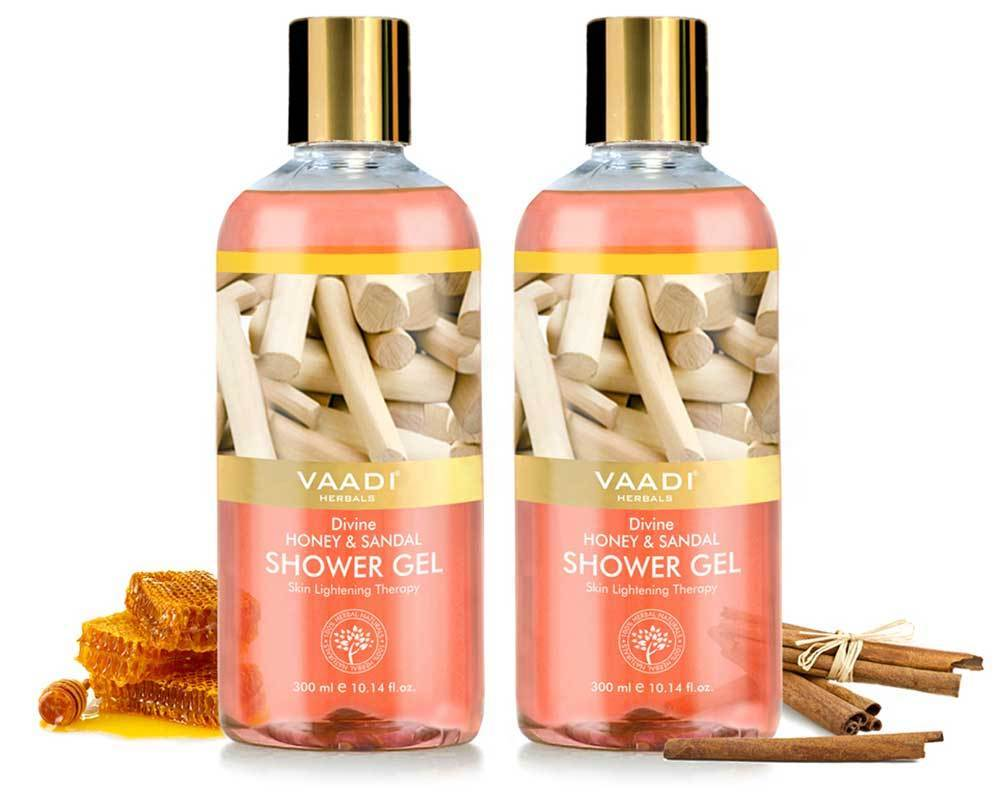 Organic Divine Honey & Sandal Shower Gel- Skin Toning Therapy - Makes Skin Flawless (2 x 300 ml / 10.2 fl oz)