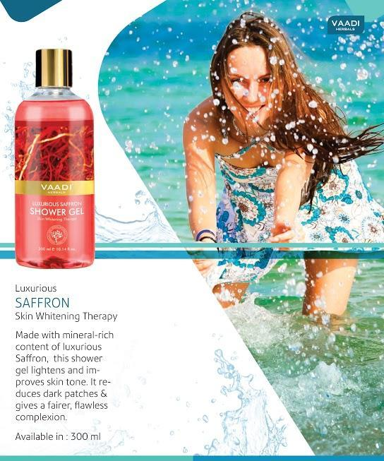 Luxurious Organic Saffron Shower Gel - Skin Lightening Therapy - Reduces Pigmentation Marks (3 x 300 ml / 10.2 fl oz)
