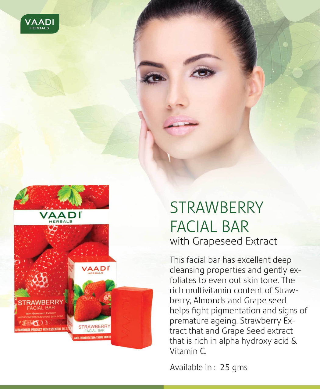 Organic Strawberry Facial Bar with Grapeseed Extract - Anti Ageing - Reduces Pigmentation (6 x 25 gms/0.9 oz)