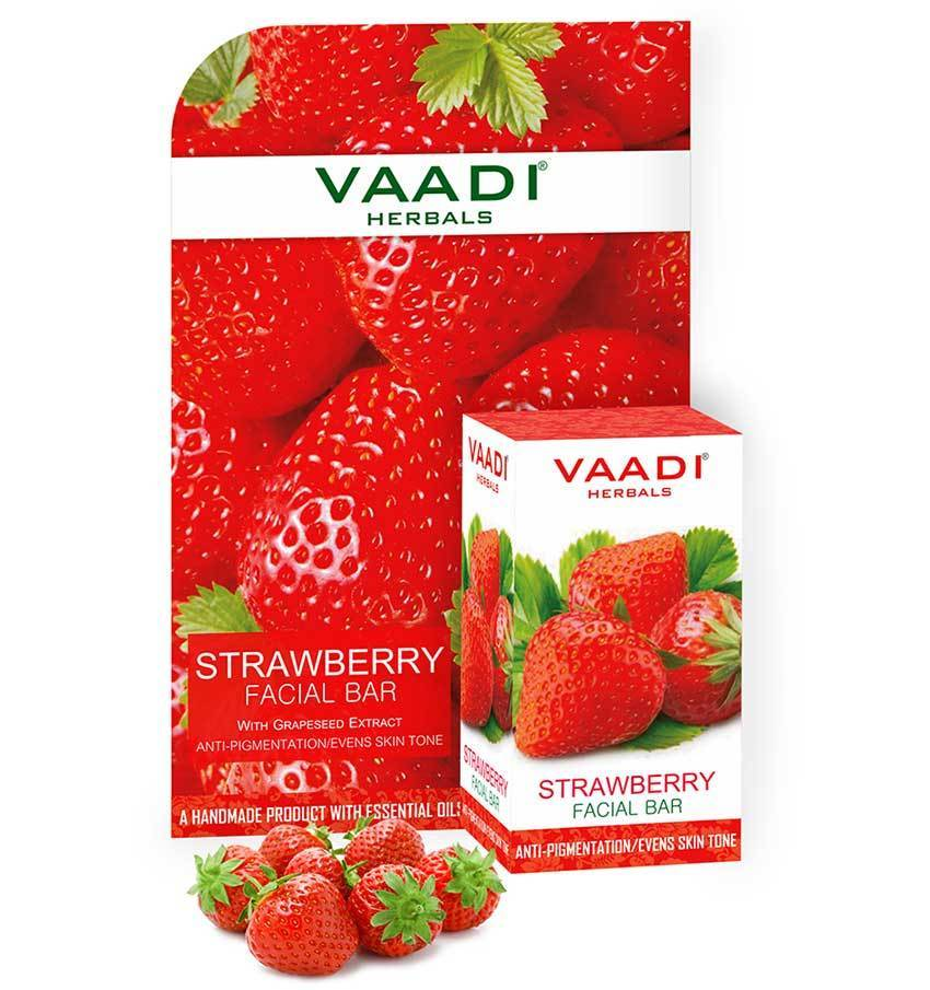 Organic Strawberry Facial Bar with Grapeseed Extract - Anti Ageing - Reduces Pigmentation (25 gms/0.9 oz)