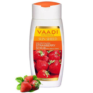 Organic Strawberry Scrub Moisturising Lotion with Walnut Grains- Lightens Skin Tone - Reduces Pigmentation - Removes Dead Cells (110 ml/ 4 fl oz)