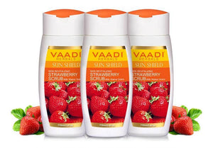 Organic Strawberry Scrub Moisturising Lotion with Walnut Grains- Lightens Skin Tone - Reduces Pigmentation - Removes Dead Cells (3 x 110 ml/ 4 fl oz)