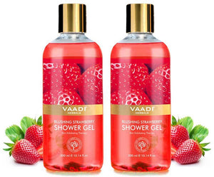 Blushing Organic Strawberry Shower Gel - Skin Firming Therapy - Enhances Collagen (2 x 300 ml / 10.2 fl oz)