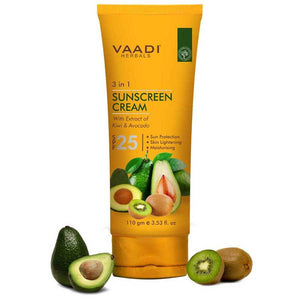 Organic Sunscreen Cream SPF 25 with Kiwi & Avocado Extract - Protects & Nourishes Skin - Enhances Complexion (110 gms / 4 oz)