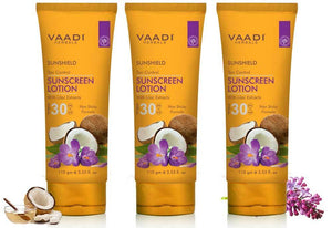 Organic Sunscreen Lotion SPF 30 wth Lilac Extract - Anti oxidant Rich - Long Lasting - Protects from Sun Tan (3 x 110 ml / 4 fl oz)