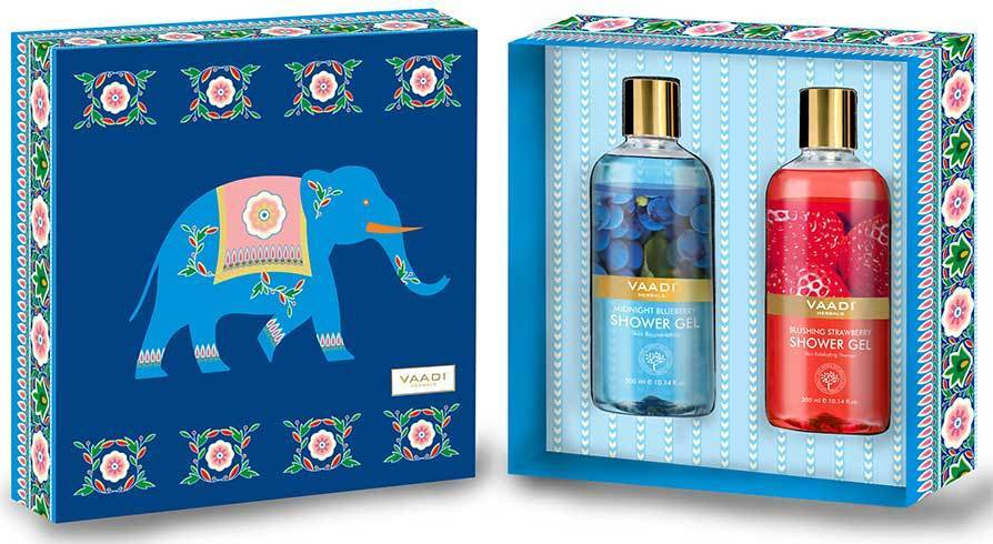Very Berry Organic Shower Gels Gift Box - Blushing Strawberry & Midnight Blueberry 300 ml - Exotic Bathing Experience