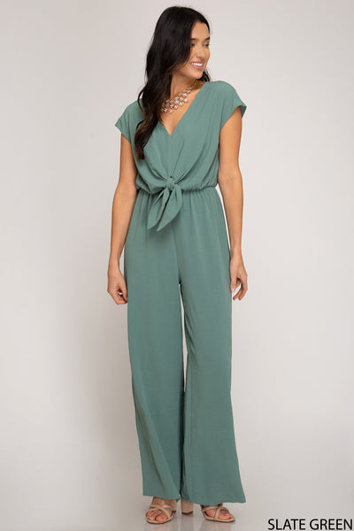 Love Short Sleeve Green Woven Jumpsuit
