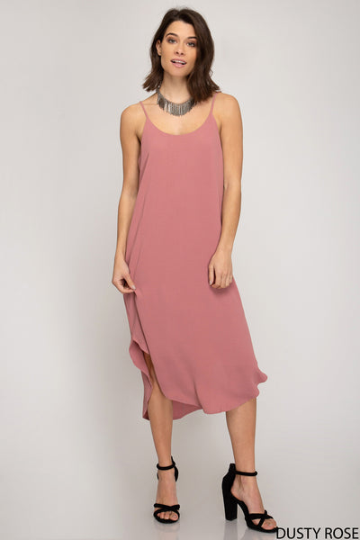 Woven Cami Hi Low Midi Dress