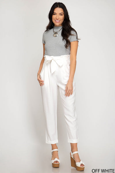 White High Waisted Paperbag Pants