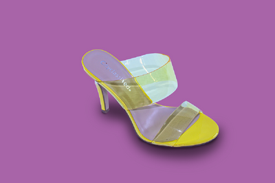 Lisa Love Clear Strap Mule Heels- Yellow