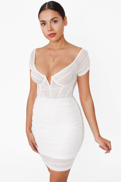 IBA MESH CAGE OFF SHOULDER MINI DRESS- WHITE Look Elegant and attractive in any occasion with this beautiful mini dress.  RUCHED SKIRT UNDERWIRE DETAIL LINED BOTTOM SHEER TOP