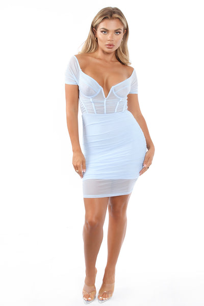 IBA Mesh Cage Off Shoulder Mini Baby Blue Dress