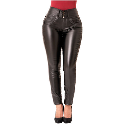 LOVEIBA Colombian Butt Lifter Faux Leather Skinny Pants