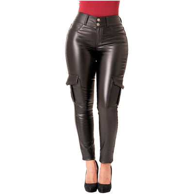Faux Leather Black  Skinny Pants with Cargo Pockets