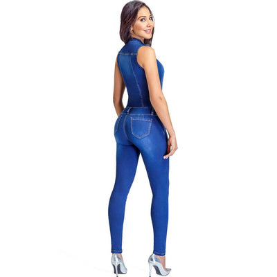 Blue Denim Body Shaper Compression Jumpsuit