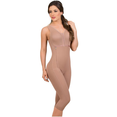MariaE Fajas Postoperative Whole Body Shaper Side Zippered Capri Length with bra