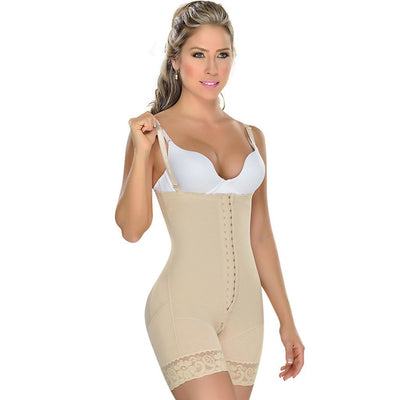 Fajas MYD Strapless Mid Thigh Body Shaper for Women Beige