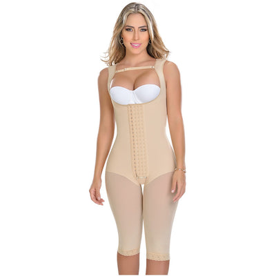 Post surgical compression garment. Beautiful and confident, all day long. Full body girdle. Made of Powernet. High compression. Ideal for daily use and post surgery. High back coverage. Adjustable straps.