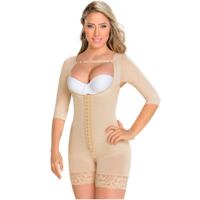 Fajas MYD Mid Thigh Long Sleeves Post Surgery Girdle for Women Beige
