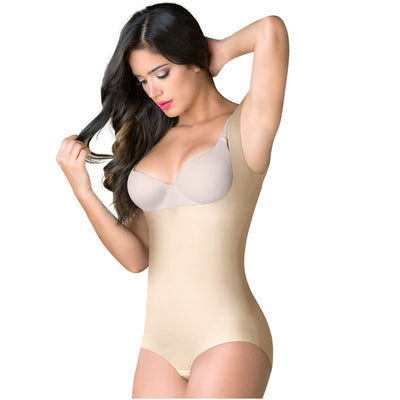 Romanza Colombian Butt Lifter Tummy Control Shapewear | Open Bust & Wide Straps Made of 83% Nylon, 17% Elastane Great all-over shaping for tummy, hips, thighs, and rear. Open bust so you can pair it with your favorite bra. Butt-lifting effect so you can show off that killing butt. Wide straps to give you comfort and support. Hiphugger design allows you to wear it with your favorite outfit.