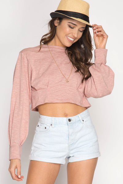 Rose Balloon Sleeve Crop Top