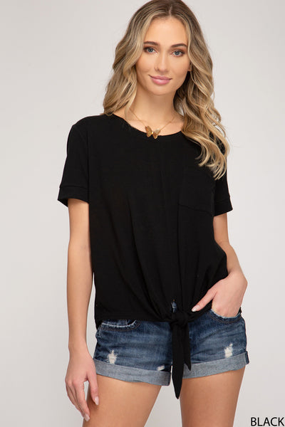 Knit Top Tie Front Black