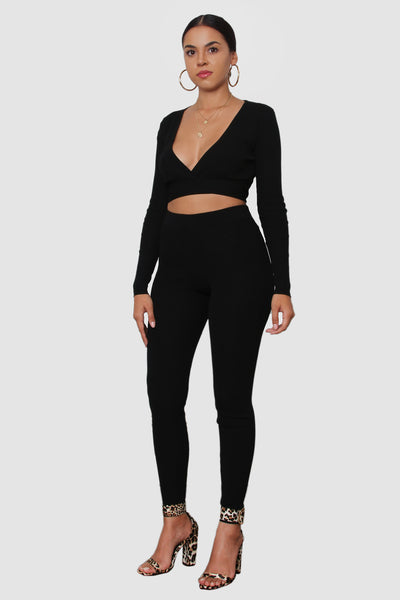 Black knit long sleeve wrap crop top & high waisted leggings set