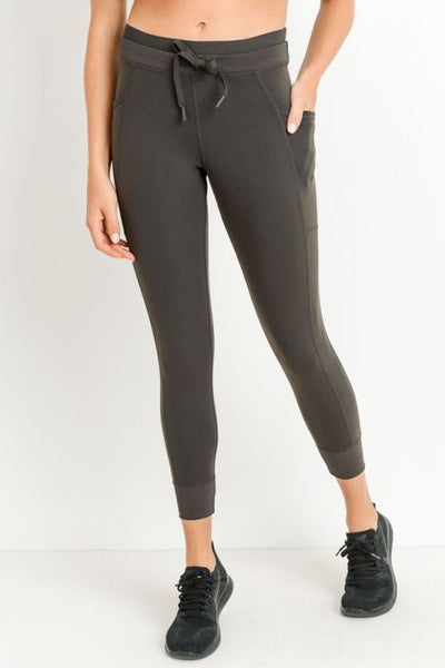 Dark Brown Capri Jogger Style Leggings