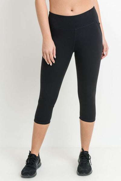 Black Capri Leggings with Zippered Pockets & Mesh Back Panel