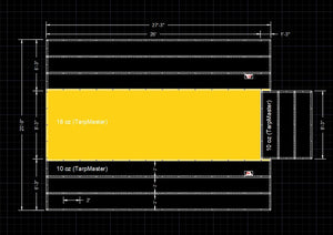 Flatbed Tarp 6' Sides (Light Weight) - 20'9'' (W) x 26'0'' (L) With Open Flap