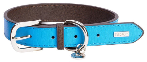 Accent Leather Dog Collar In Cyan Blue - Posh Pawz Fashion