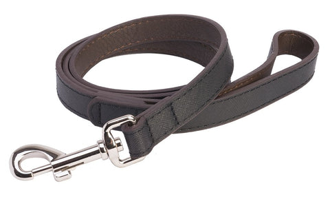 Accent Leather Dog Lead In Black - Posh Pawz Fashion