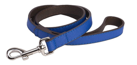 Accent Leather Dog Lead In Royal Blue - Posh Pawz Fashion