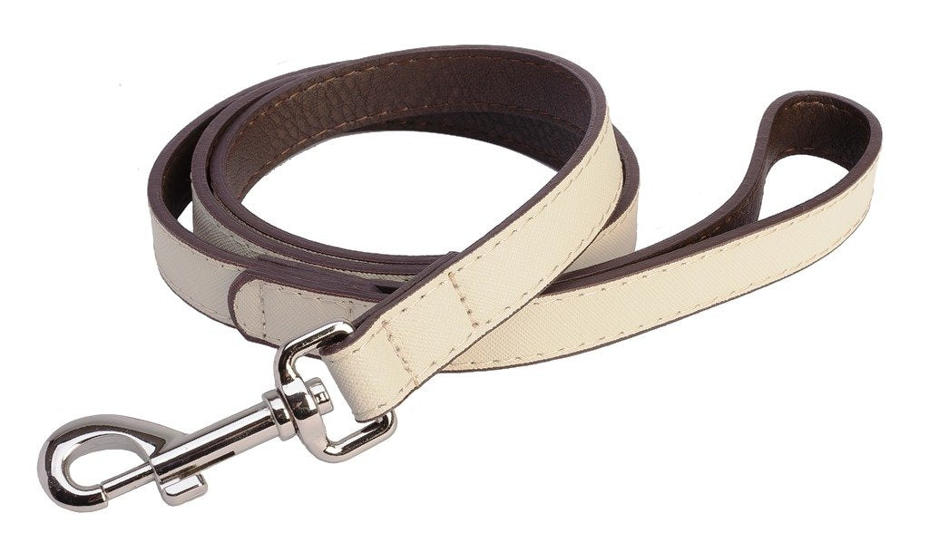 Accent Leather Dog Lead In White - Posh Pawz Fashion